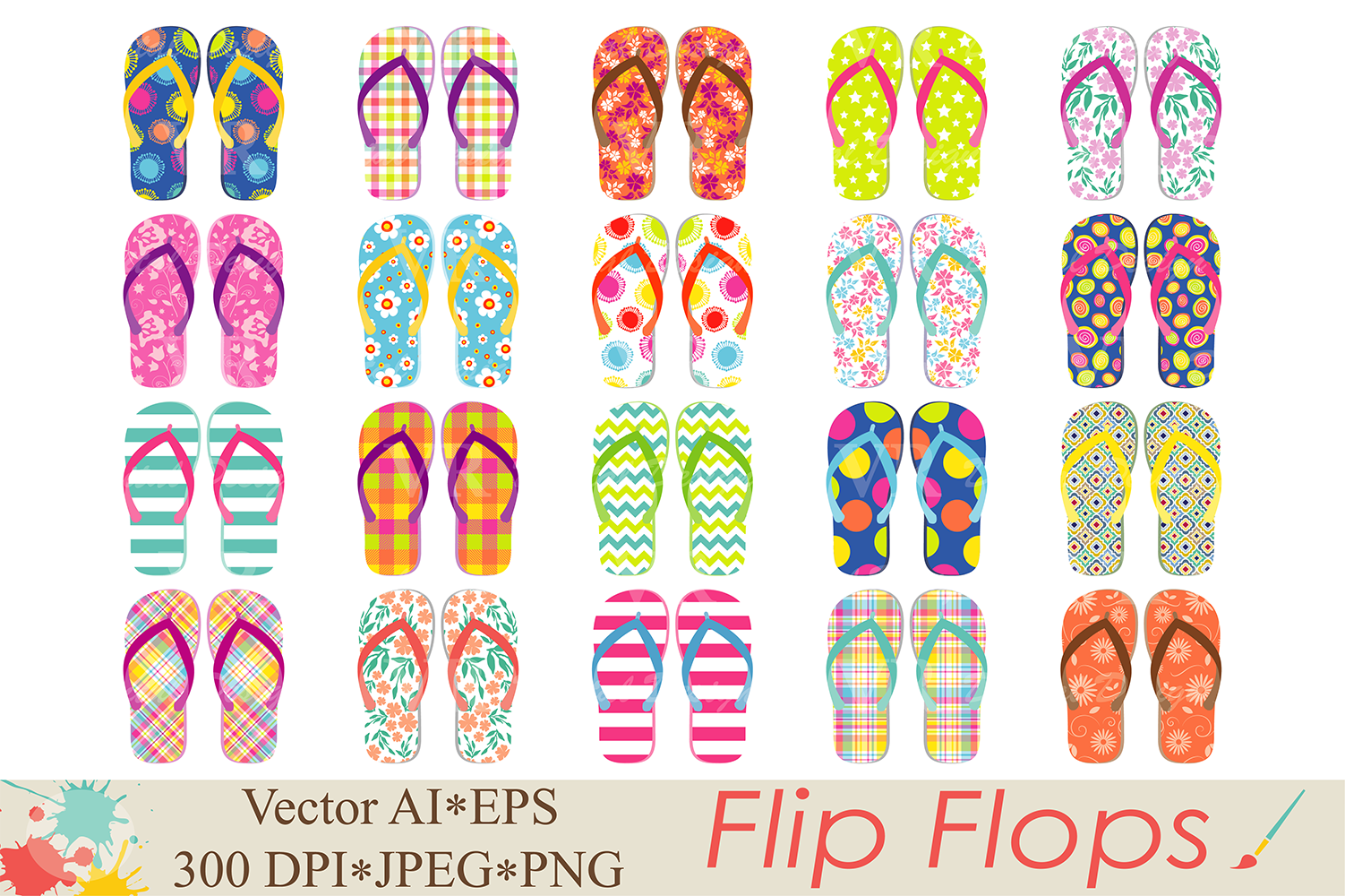 Flip Flops Clipart / Beach Shoes Graphics / Summer Vector Illustration Graphic Illustrations By VR Digital Design - Image 1