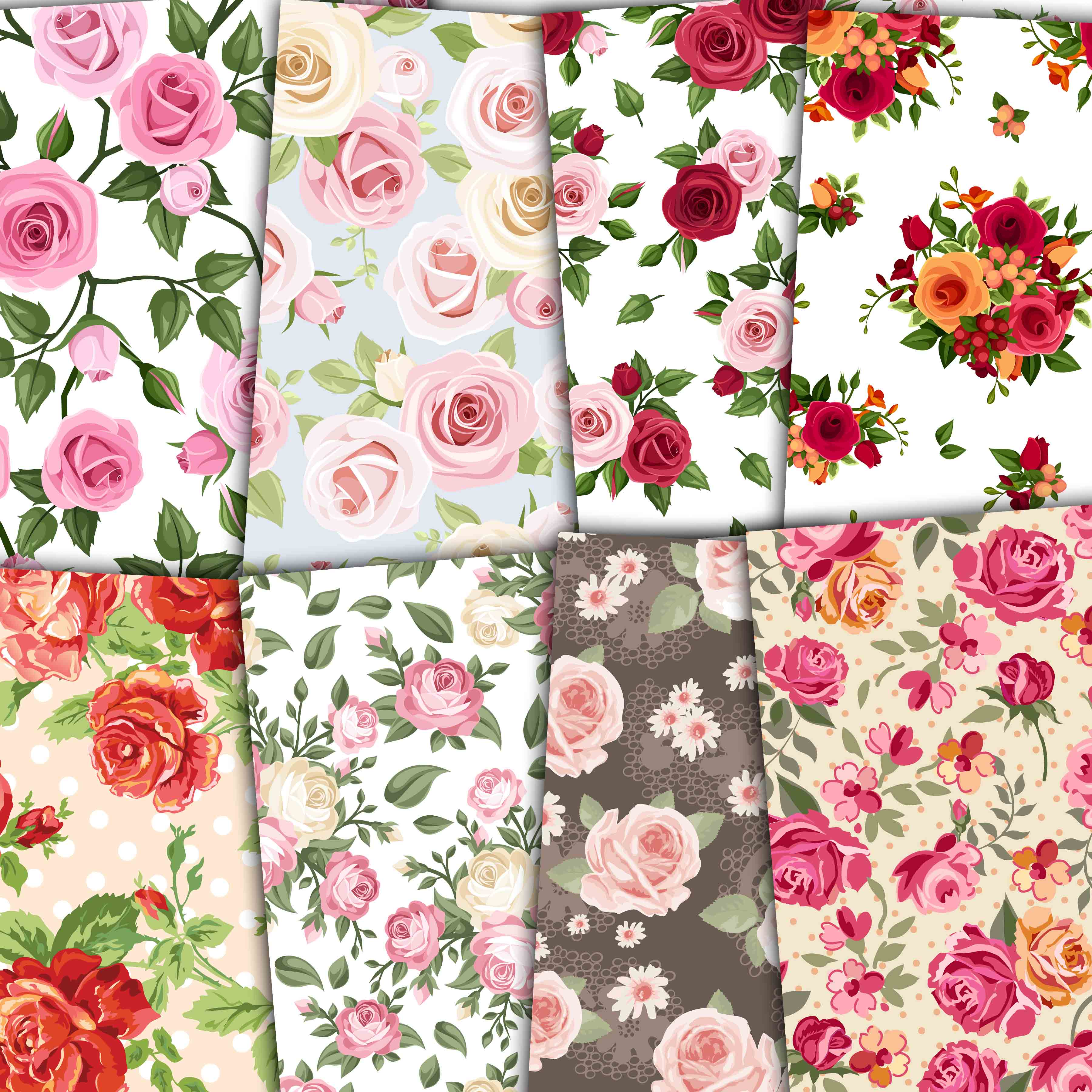 Print on Demand: Floral Digital Paper Pack Graphic Backgrounds By retrowalldecor - Image 3
