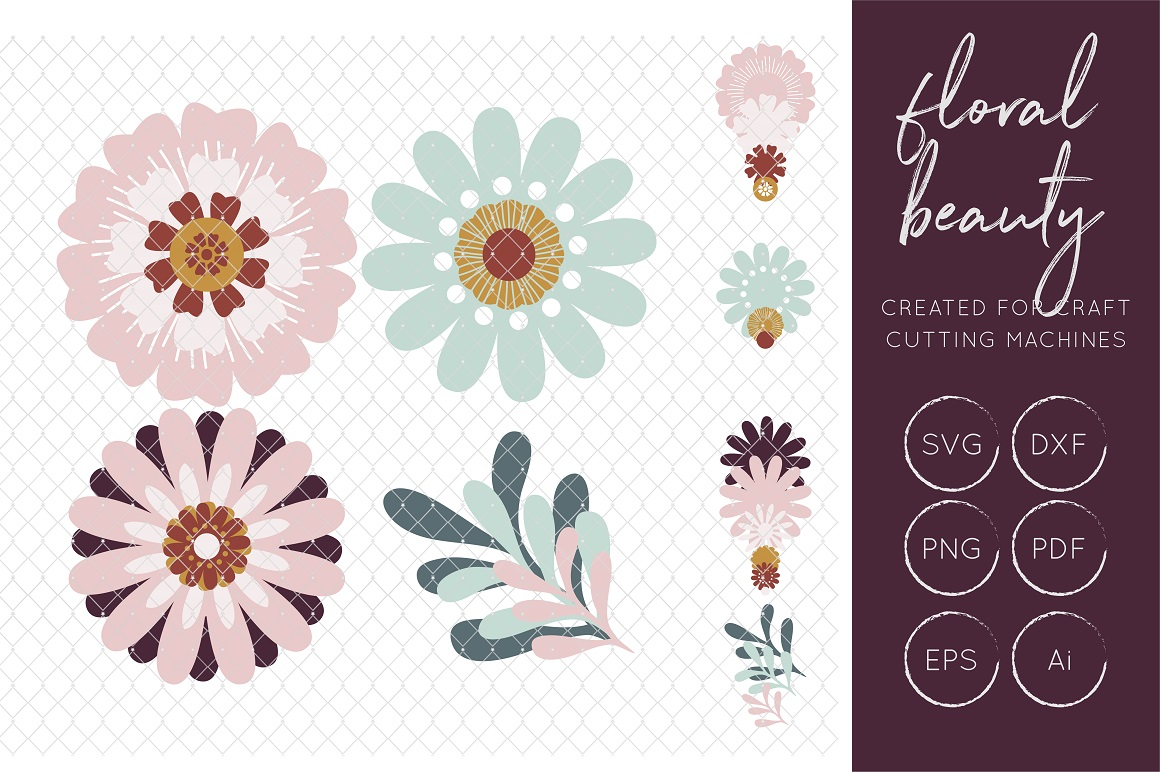 Print on Demand: Floral SVG Cut Files, FCM Cut Files Graphic Crafts By illuztrate