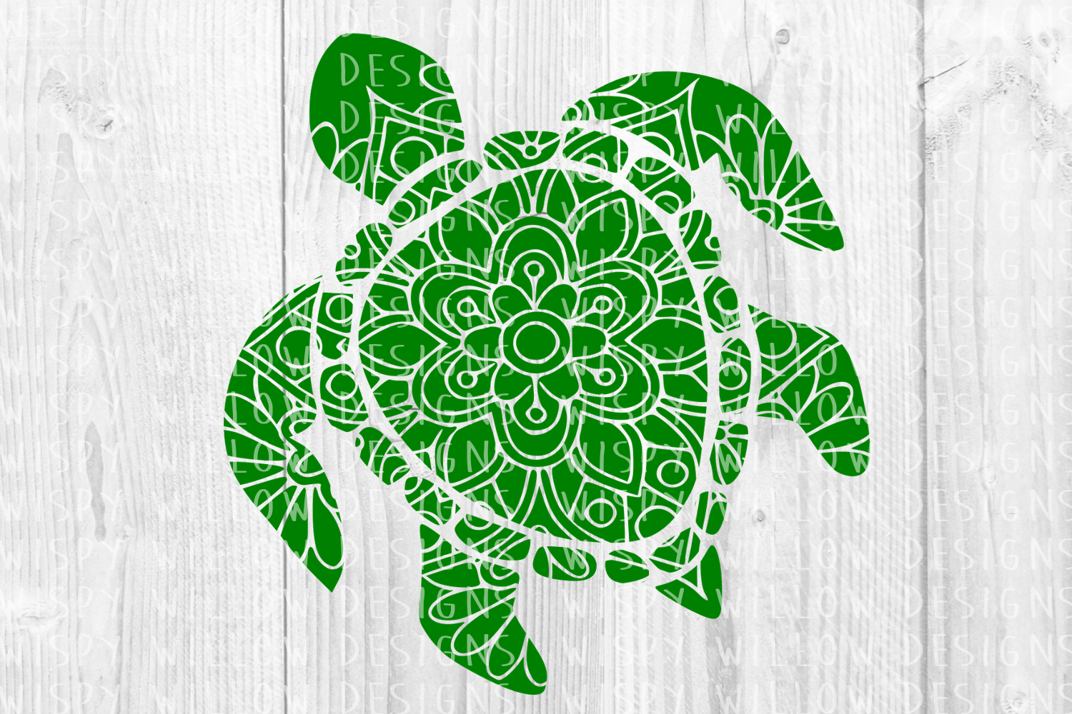 Floral Turtle Mandala Animal Graphic Crafts By WispyWillowDesigns