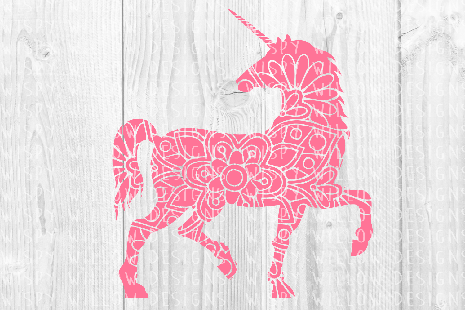 Download Free Floral Unicorn Mandala Graphic By Wispywillowdesigns Creative for Cricut Explore, Silhouette and other cutting machines.