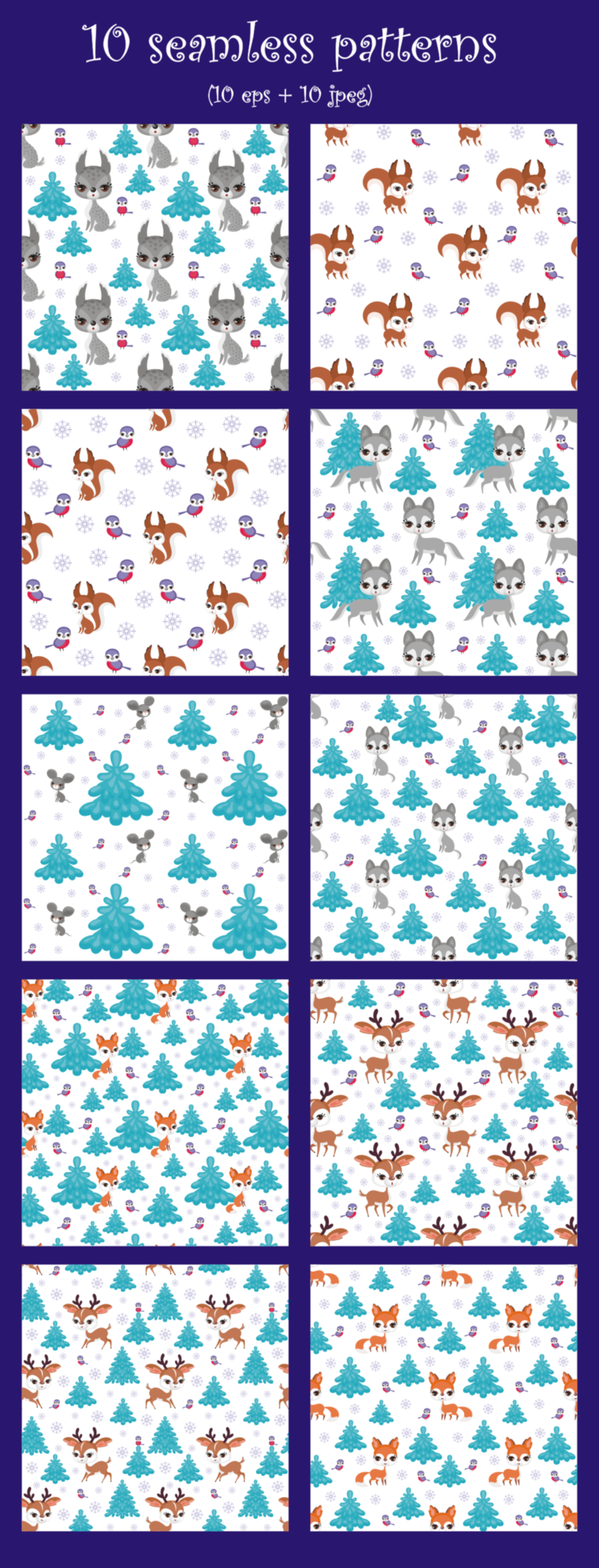 Print on Demand: Forest Friends Cute Clip Arts and Seamless Patterns Graphic Illustrations By Olga Belova - Image 3