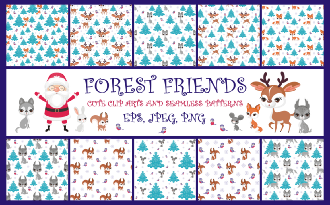 Print on Demand: Forest Friends Cute Clip Arts and Seamless Patterns Graphic Illustrations By Olga Belova - Image 1