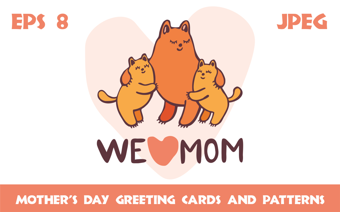 Print on Demand: Funny Cats Mother's Day Greeting Cards and Patterns Graphic Crafts By Olga Belova - Image 1