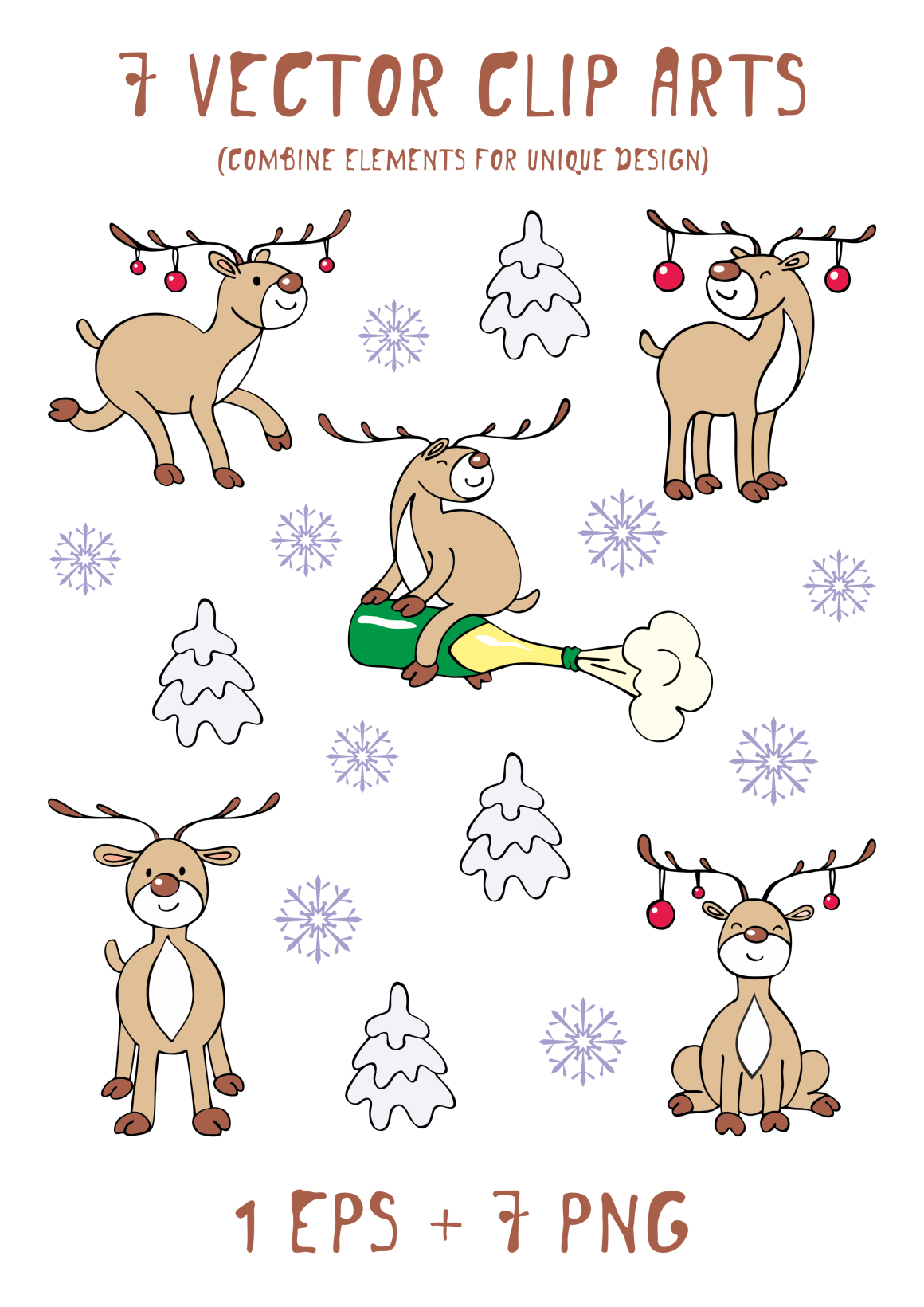 Print on Demand: Funny Deer Christmas Clipart and Seamless Patterns Graphic Illustrations By Olga Belova - Image 2