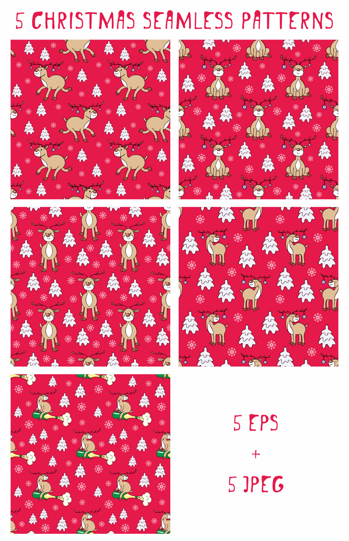 Print on Demand: Funny Deer Christmas Clipart and Seamless Patterns Graphic Illustrations By Olga Belova - Image 3