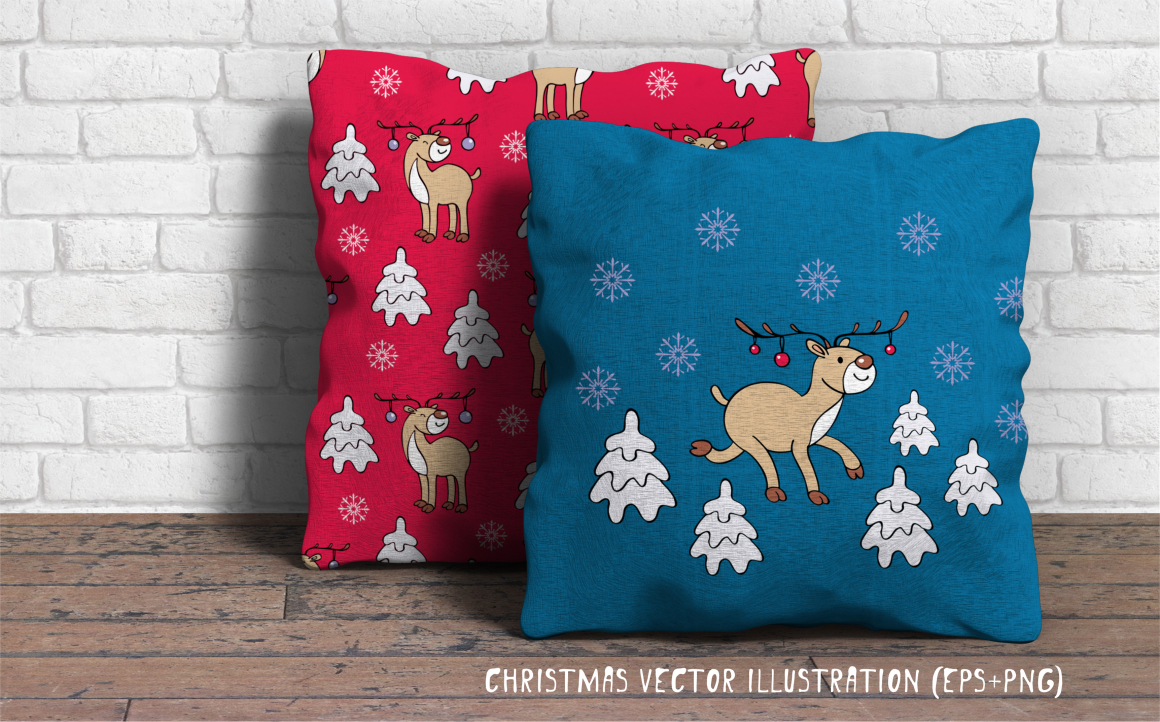 Print on Demand: Funny Deer Christmas Clipart and Seamless Patterns Graphic Illustrations By Olga Belova - Image 4