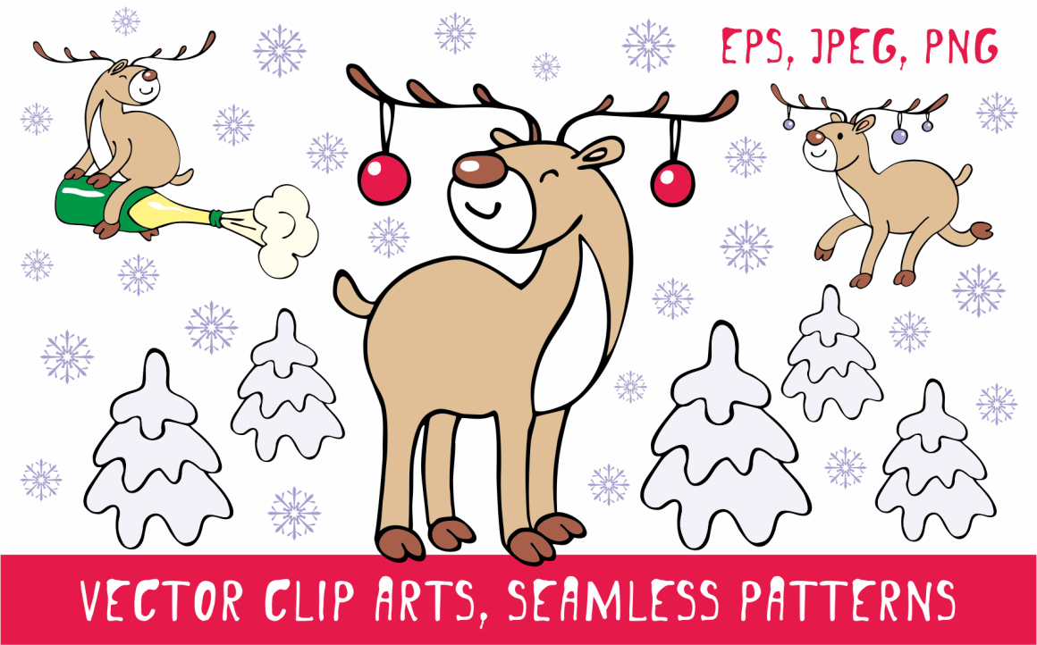 Funny Deer Christmas Clipart and Seamless Patterns Graphic By Olga Belova