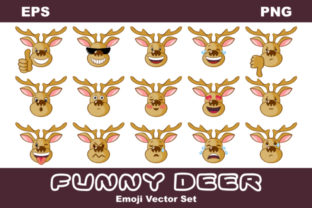 Download Free Funny Deer Emoji Vector Set Graphic By Olga Belova Creative for Cricut Explore, Silhouette and other cutting machines.