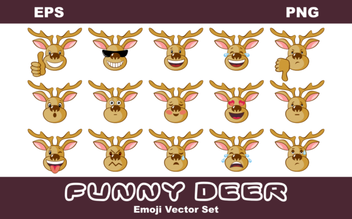 Funny Deer Emoji Vector Set Graphic By Olga Belova Image 1