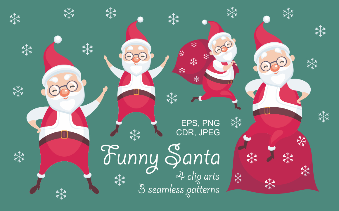 Print on Demand: Funny Santa. Christmas Clip Arts and Seamless Patterns. Graphic Illustrations By Olga Belova