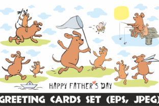 Download Free Funny Dogs Father S Day Greeting Cards Set Graphic By Olga for Cricut Explore, Silhouette and other cutting machines.