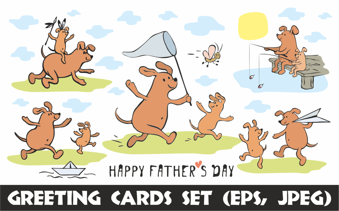 Print on Demand: Funny Dogs Father's Day Greeting Cards Set Graphic Crafts By Olga Belova