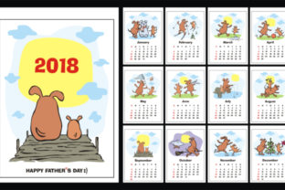 Download Free Funny Dogs Wall Calendar 2018 Graphic By Olga Belova Creative for Cricut Explore, Silhouette and other cutting machines.