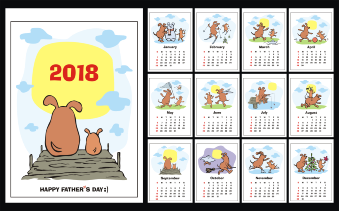 Funny Dogs Wall Calendar 2018 Graphic By Olga Belova Image 1