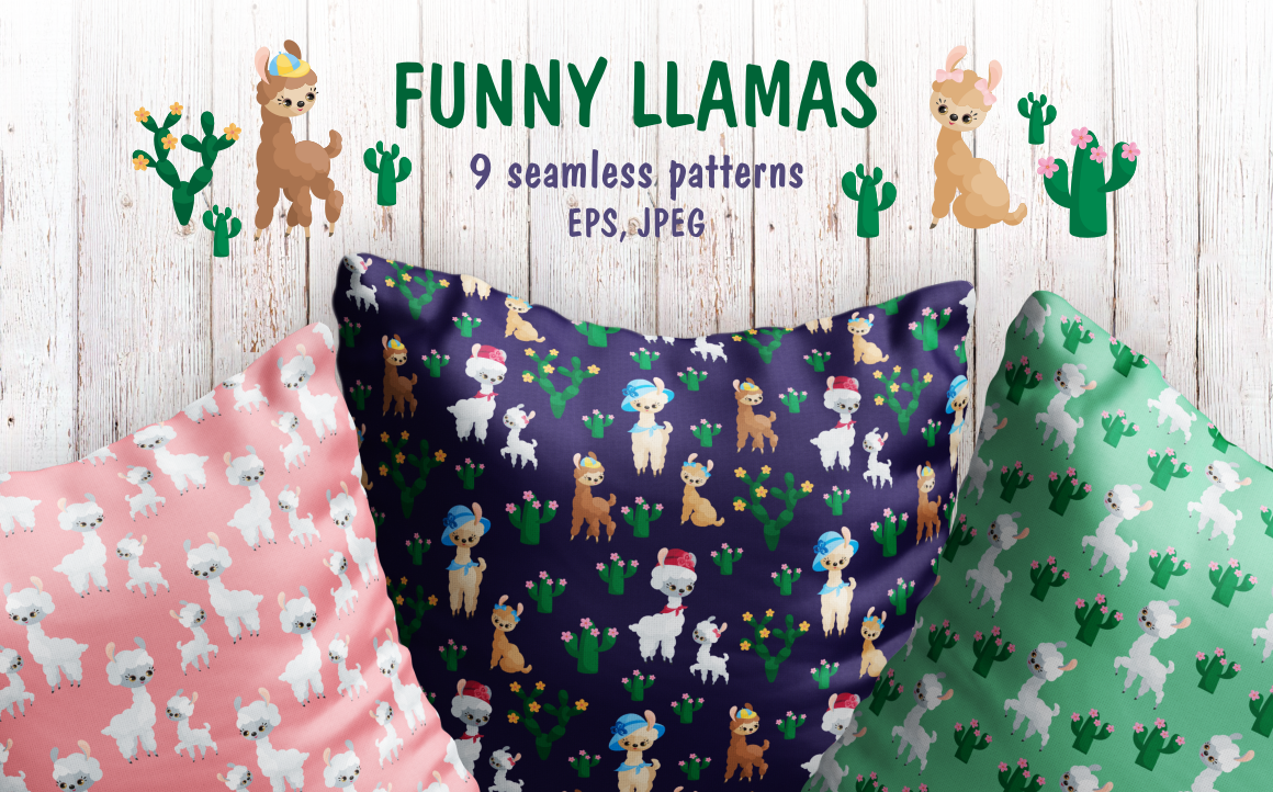 Print on Demand: Funny Llamas Seamless Patterns Mini Set Graphic Patterns By Olga Belova
