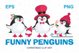 Download Free Funny Penguins Christmas Clip Art Grafik Von Olga Belova for Cricut Explore, Silhouette and other cutting machines.