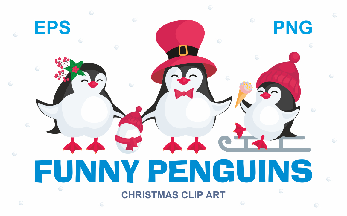 Funny Penguins Christmas Clip Art. Graphic By Olga Belova Image 1