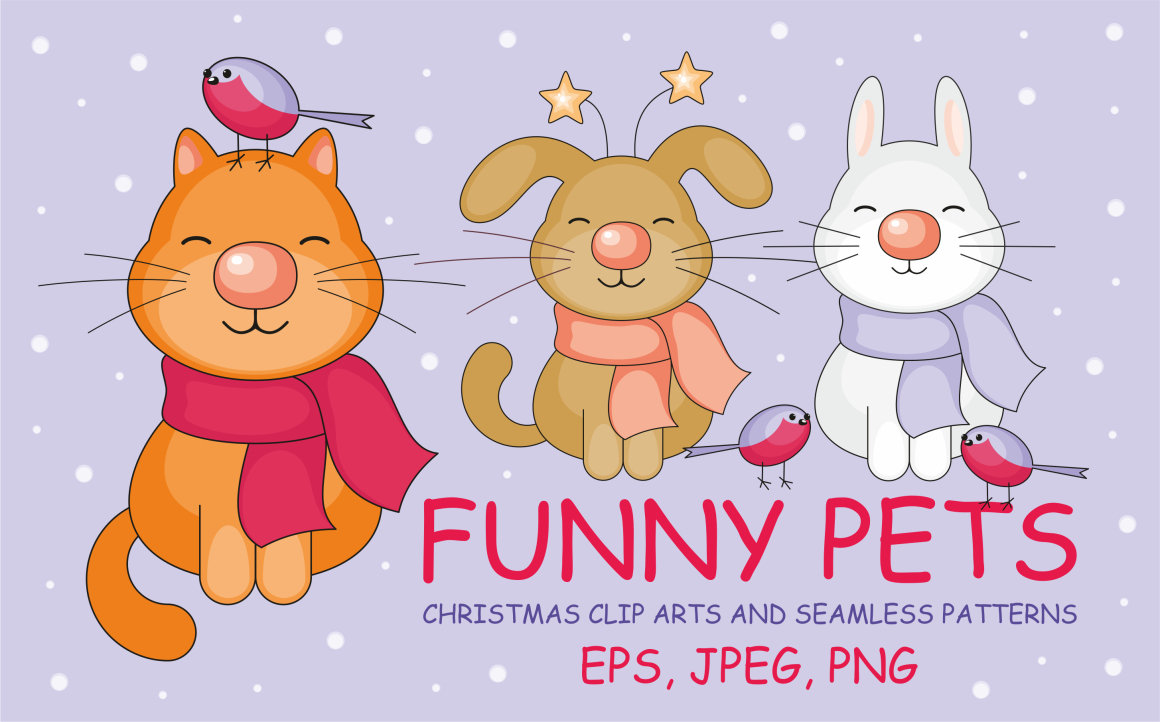 Funny Pets! Christmas Clip Arts and Seamless Patterns Graphic By Olga Belova