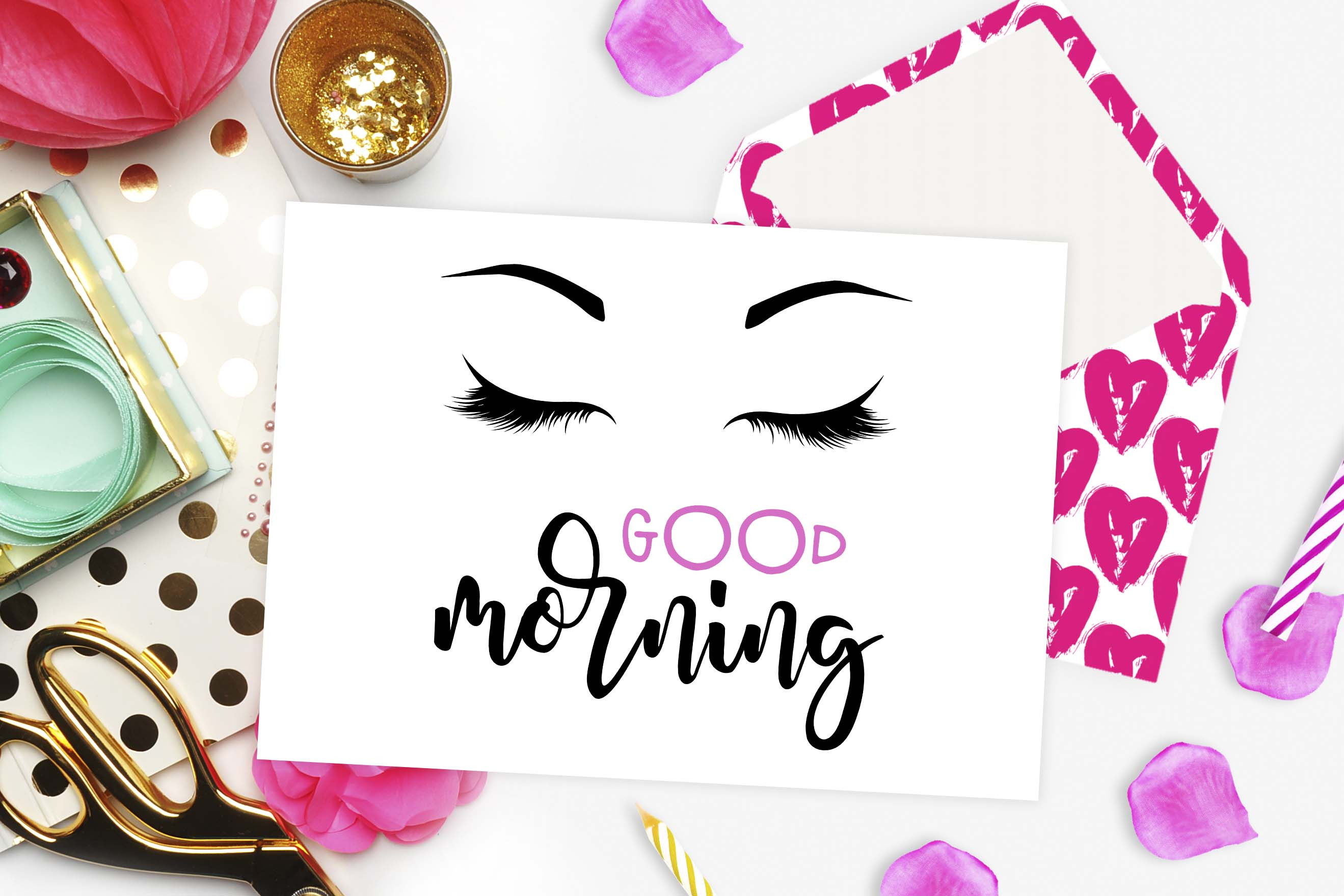 Good Morning Lashes Eyebrows SVG DXF PNG EPS Graphic Crafts By TheBlackCatPrints