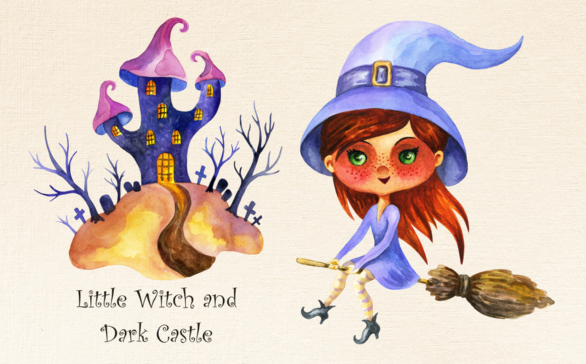 Print on Demand: Halloween Watercolor Set: Little Witch and Dark Castle Graphic Illustrations By Olga Belova - Image 2