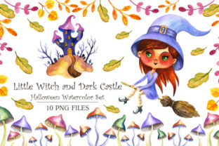 Halloween Watercolor Set: Little Witch and Dark Castle Graphic By Olga Belova