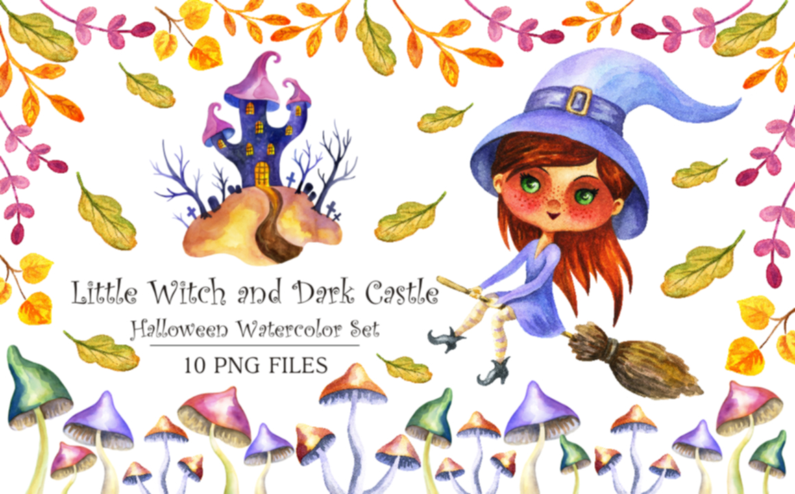Print on Demand: Halloween Watercolor Set: Little Witch and Dark Castle Graphic Illustrations By Olga Belova - Image 1