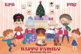 Download Free Happy Family Christmas Clip Art Graphic By Olga Belova for Cricut Explore, Silhouette and other cutting machines.