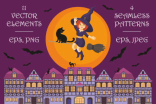 Happy Halloween! Vector Elements and Seamless Patterns Graphic By Olga Belova