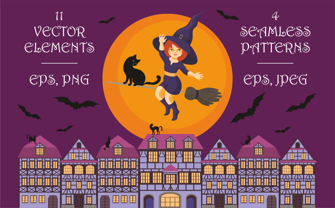 Print on Demand: Happy Halloween! Vector Elements and Seamless Patterns Graphic Illustrations By Olga Belova
