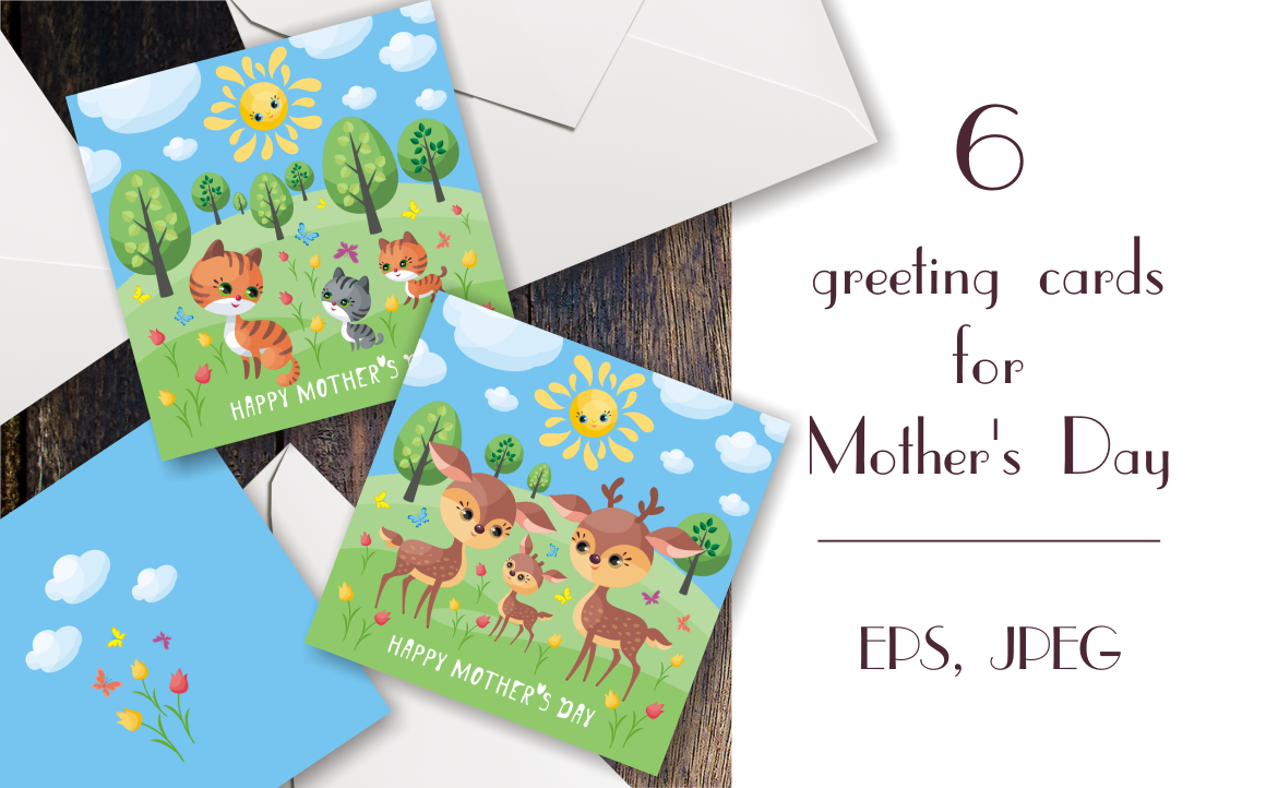 Print on Demand: Happy Mother's Day, Greeting Cards with Cute Animals Gráfico Crafts Por Olga Belova