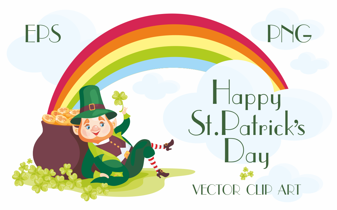 Print on Demand: Happy Saint Patricks Day Vector Clip Arts Graphic Illustrations By Olga Belova