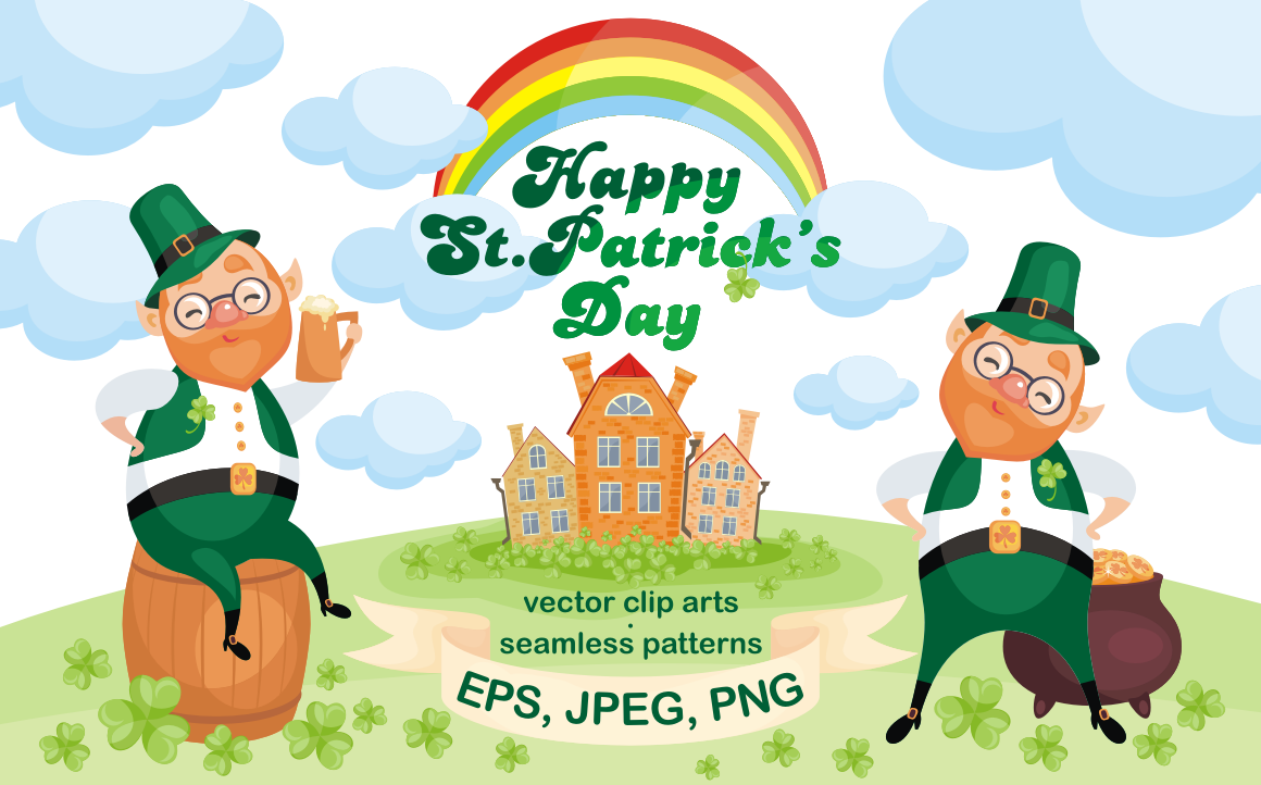 Print on Demand: Happy St.Patricks Day. Vector Clip Arts and Seamless Patterns. Graphic Illustrations By Olga Belova