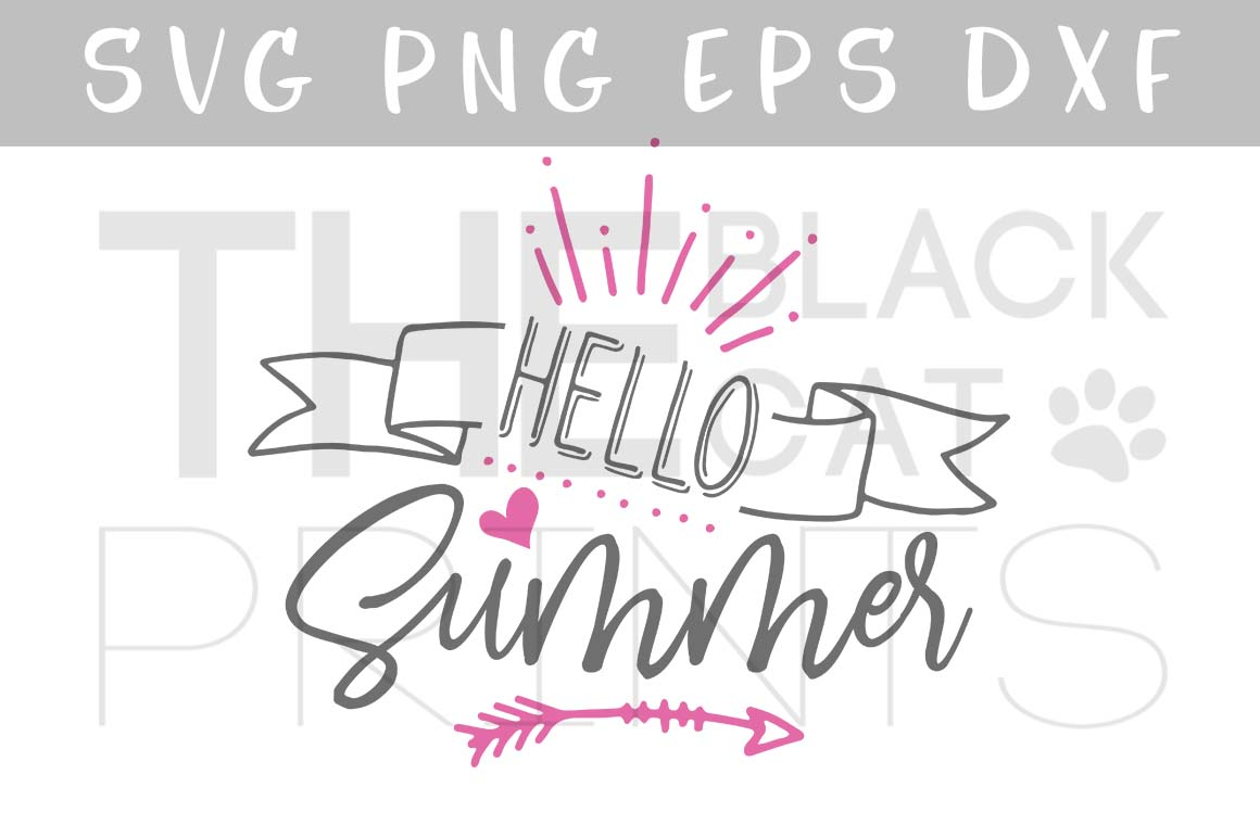 Download Free Hello Summer Graphic By Theblackcatprints Creative Fabrica for Cricut Explore, Silhouette and other cutting machines.