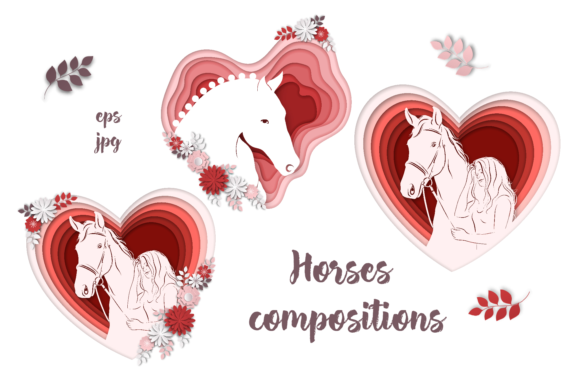 Print on Demand: Horses, Flowers & Love – Vector Paper Art Style Graphic Illustrations By nicjulia - Image 3