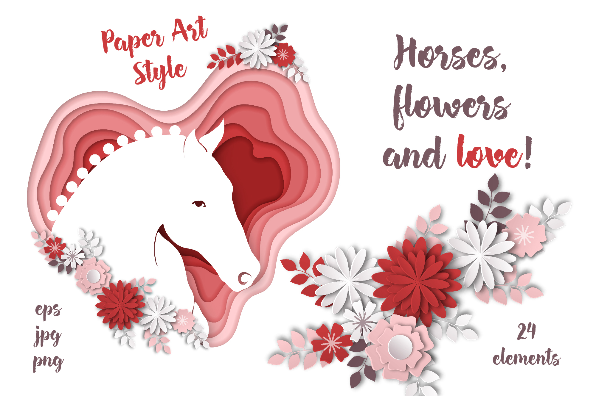 Print on Demand: Horses, Flowers & Love – Vector Paper Art Style Graphic Illustrations By nicjulia