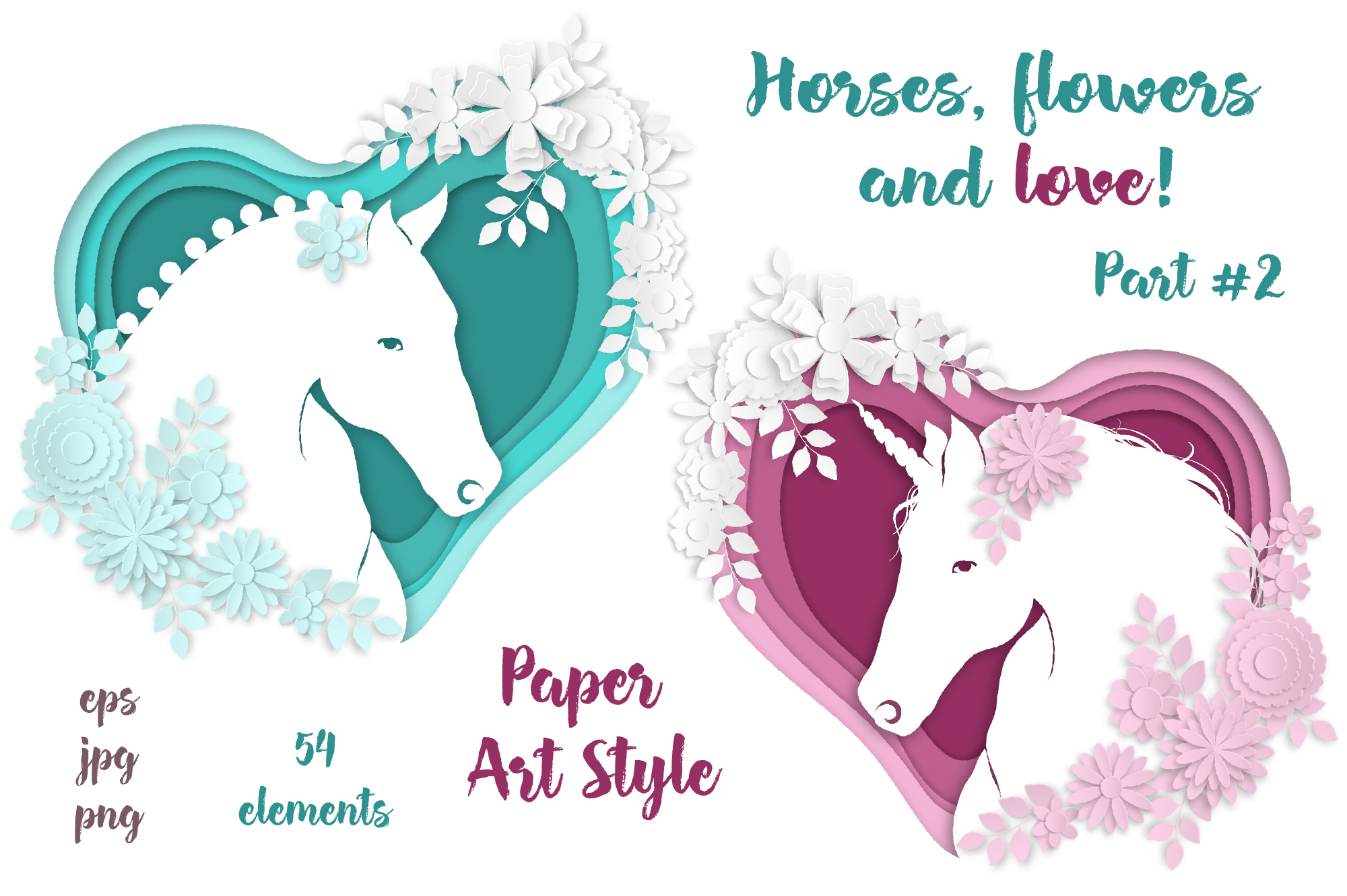 Print on Demand: Horses, Flowers & Love (part #2)– Vector Paper Art Style Graphic Illustrations By nicjulia