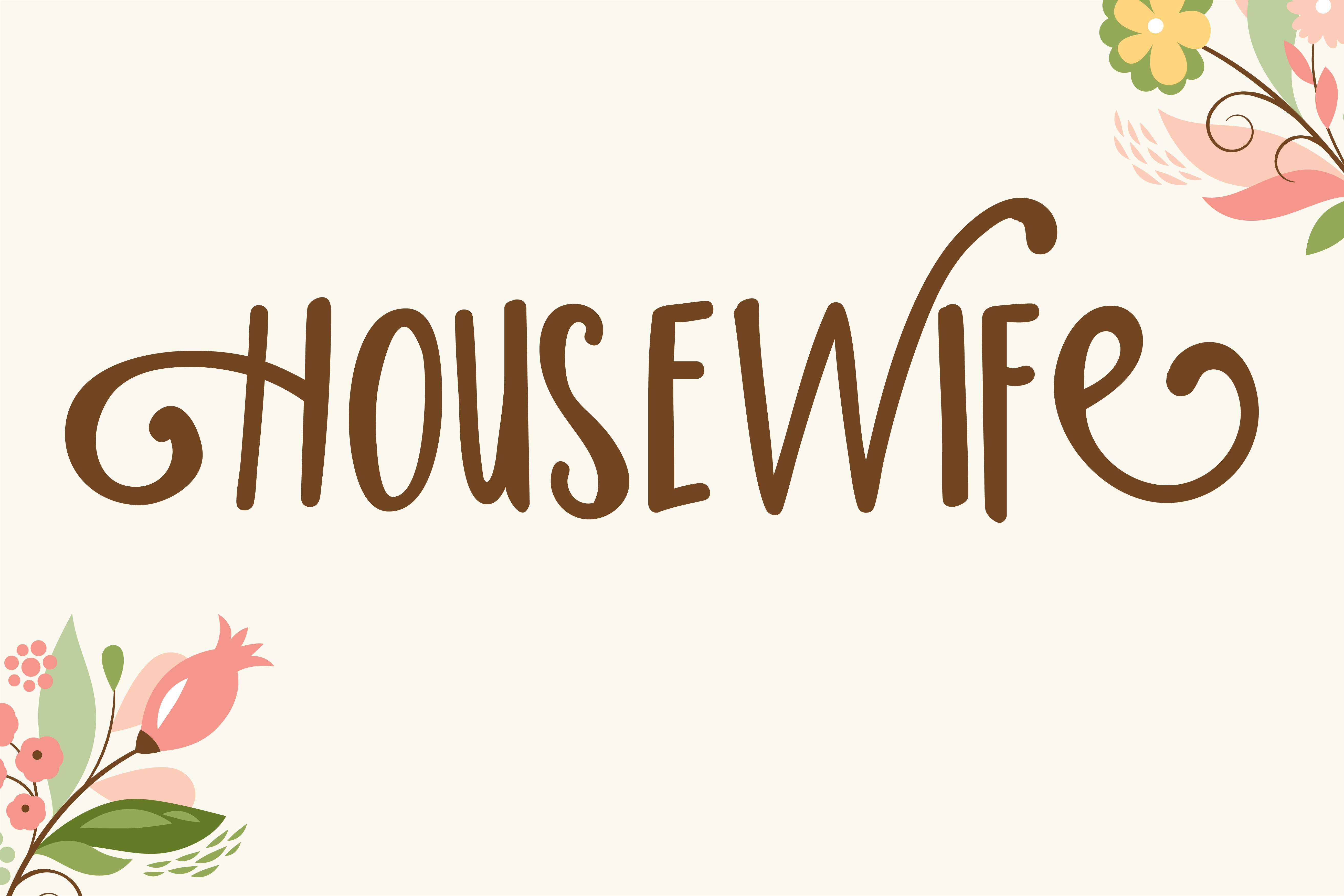Print on Demand: Housewife Script & Handwritten Font By Illustration Ink
