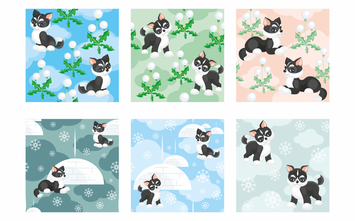 Print on Demand: Husky Dog Vector Clip Art Illustrations and Seamless Patterns Graphic Illustrations By Olga Belova - Image 3