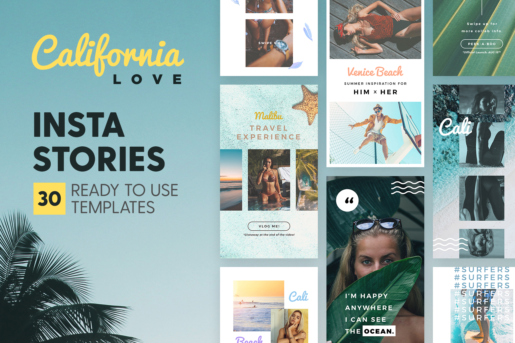 Instagram Stories - California Love Graphic Graphic Templates By lavie1blonde