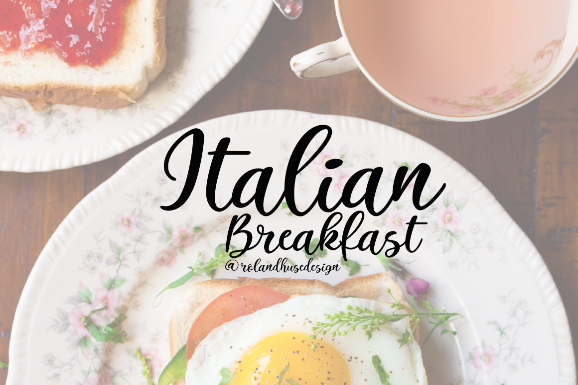 Print on Demand: Italian Breakfast Script & Handwritten Font By Roland Hüse Design
