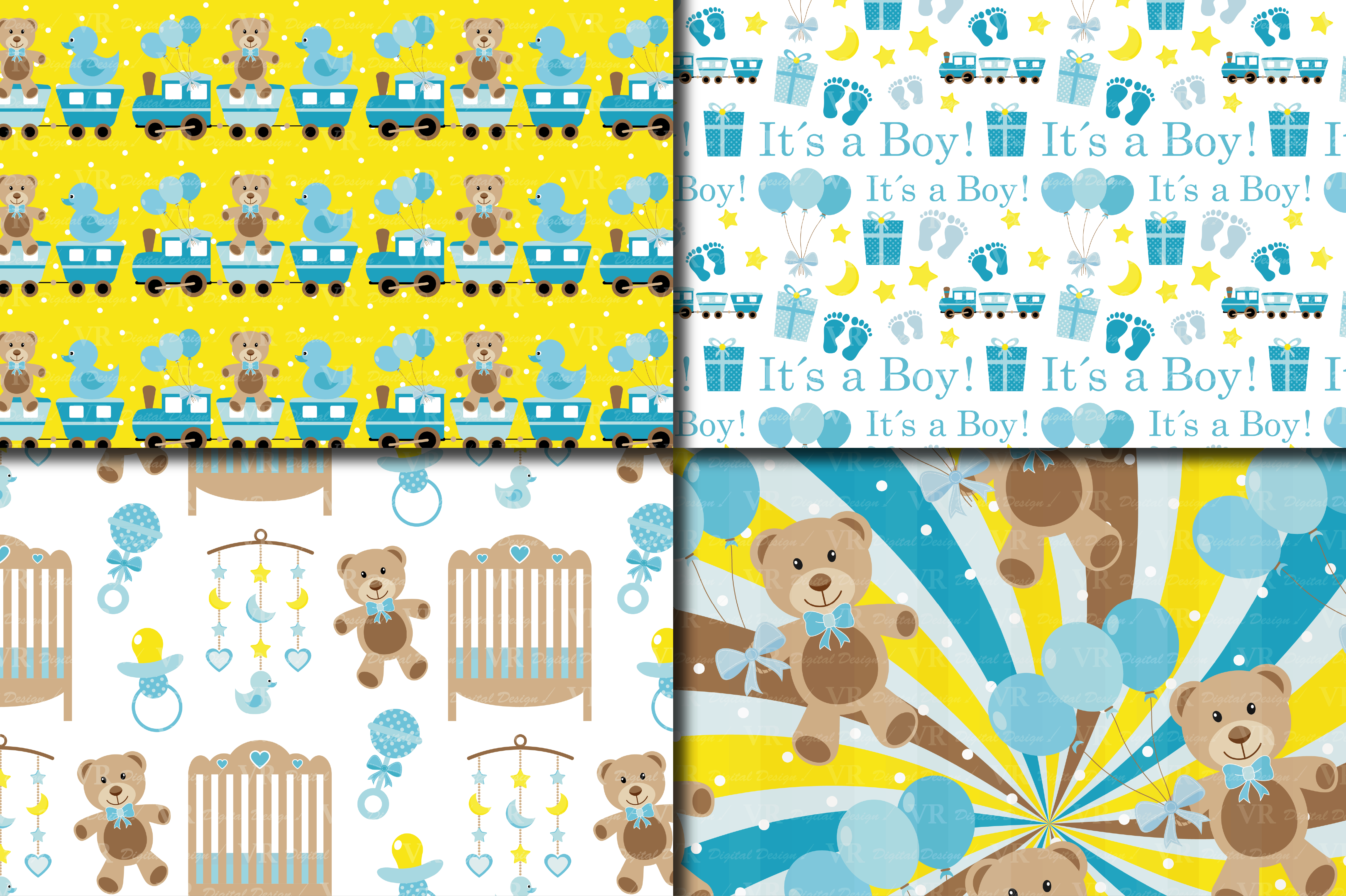 Download Free It S A Boy Digital Paper Pack Graphic By Vr Digital Design for Cricut Explore, Silhouette and other cutting machines.