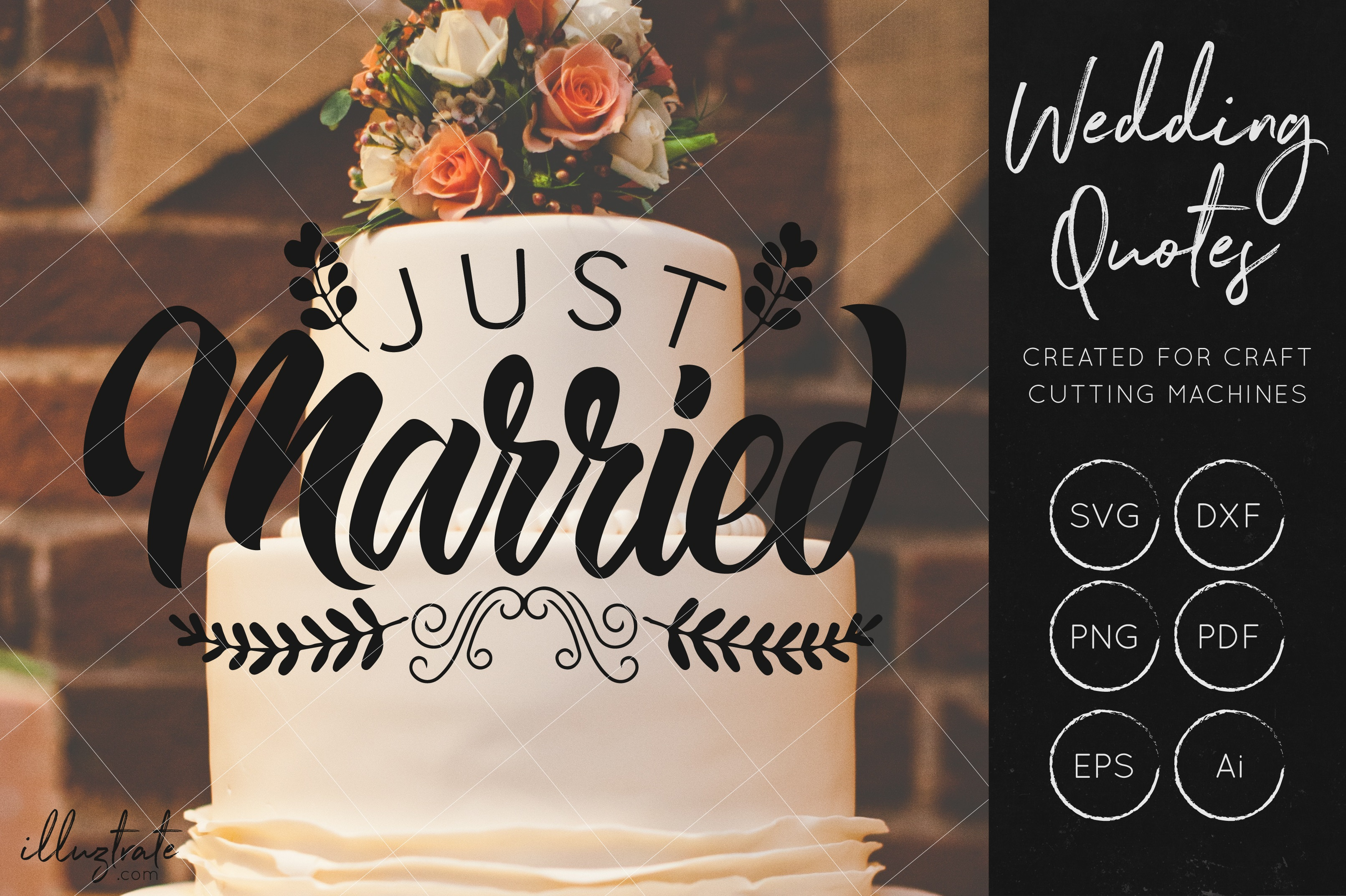 Print on Demand: Just Married SVG Cut File for Crafters - Wedding Quote SVG Graphic Crafts By illuztrate