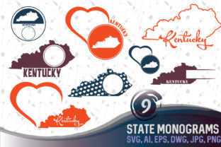 Download Free Kentucky State Monograms Graphic By Vector City Skyline for Cricut Explore, Silhouette and other cutting machines.