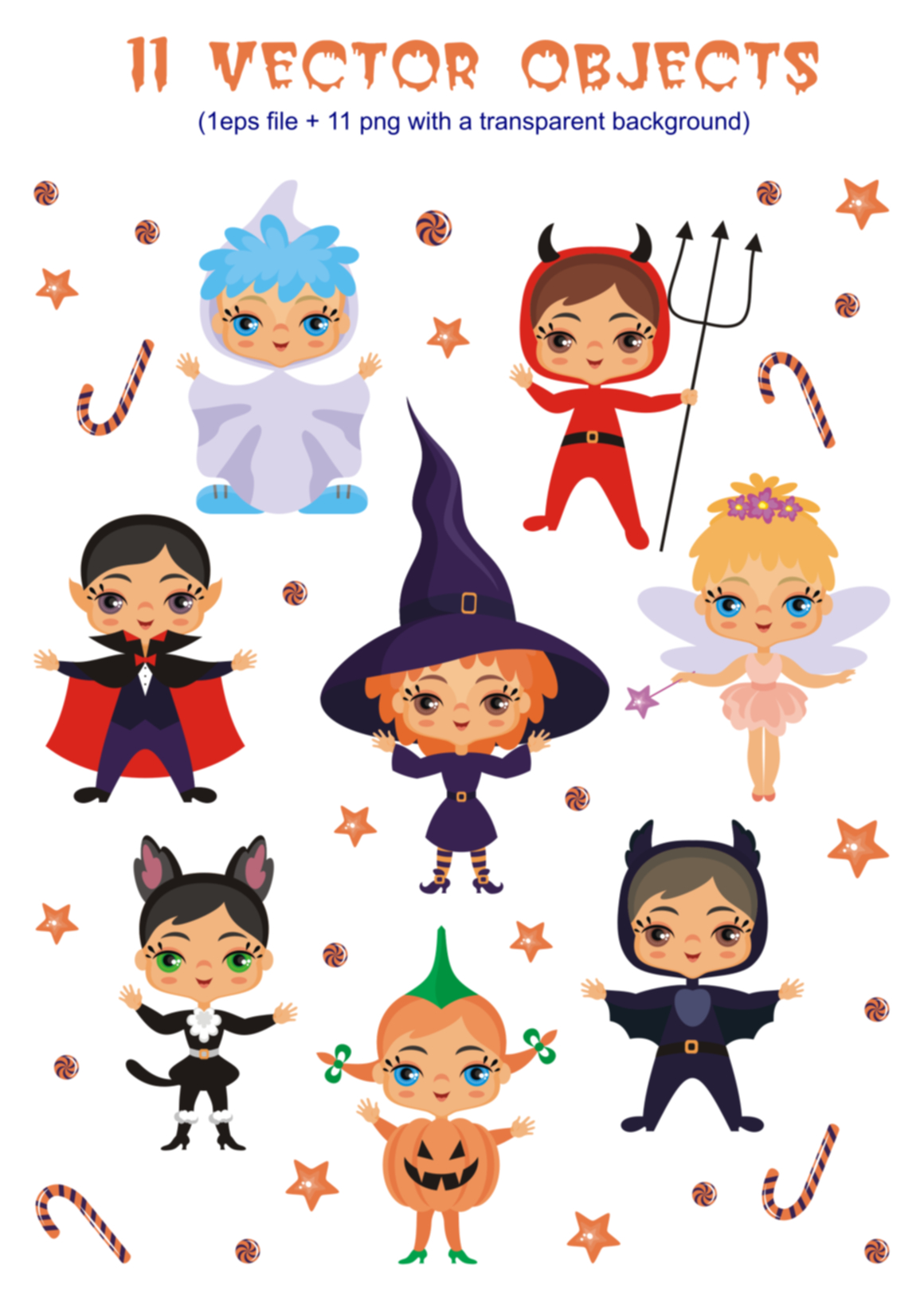 Print on Demand: Kids Halloween Party Vector Illustrations Graphic Illustrations By Olga Belova - Image 2