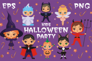 Kids Halloween Party Vector Illustrations Graphic By Olga Belova