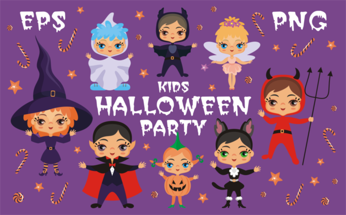 Print on Demand: Kids Halloween Party Vector Illustrations Graphic Illustrations By Olga Belova - Image 1
