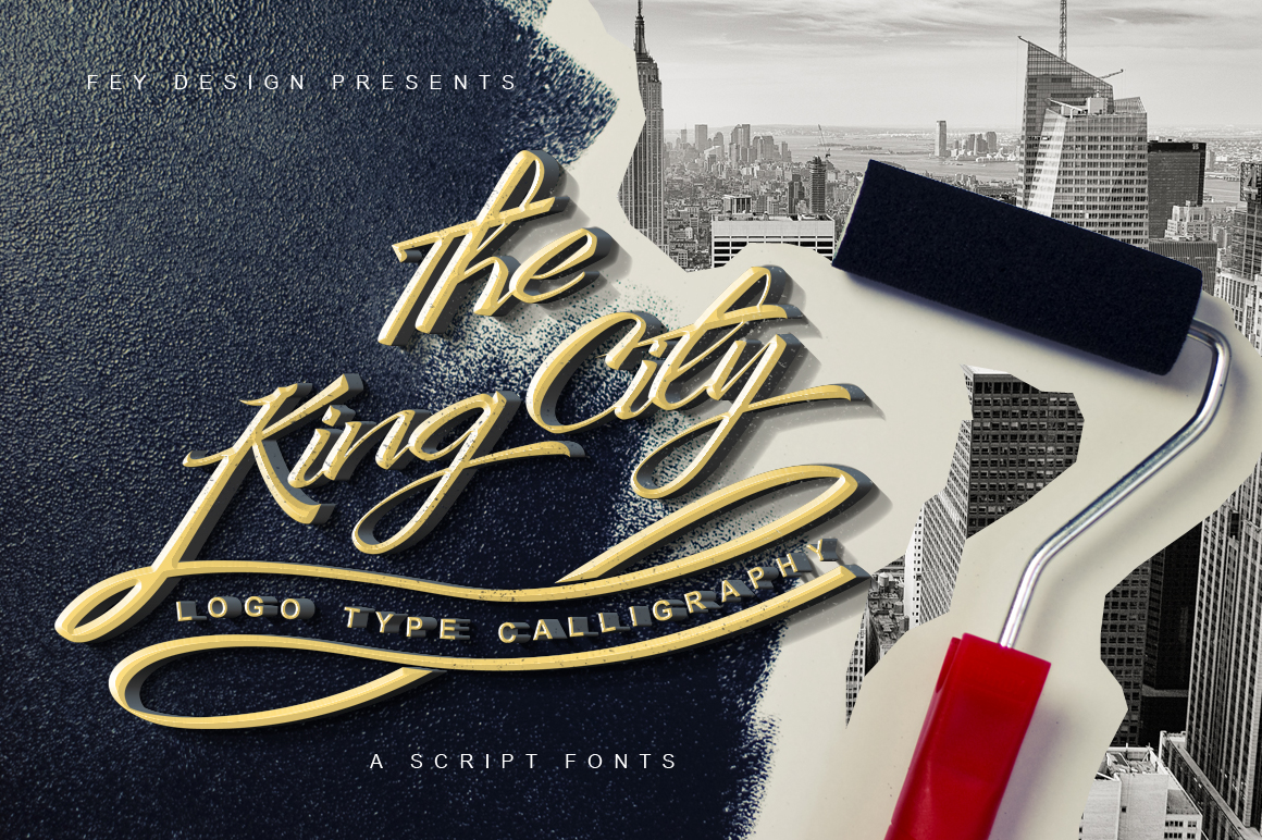 Print on Demand: King City Script & Handwritten Font By feydesign