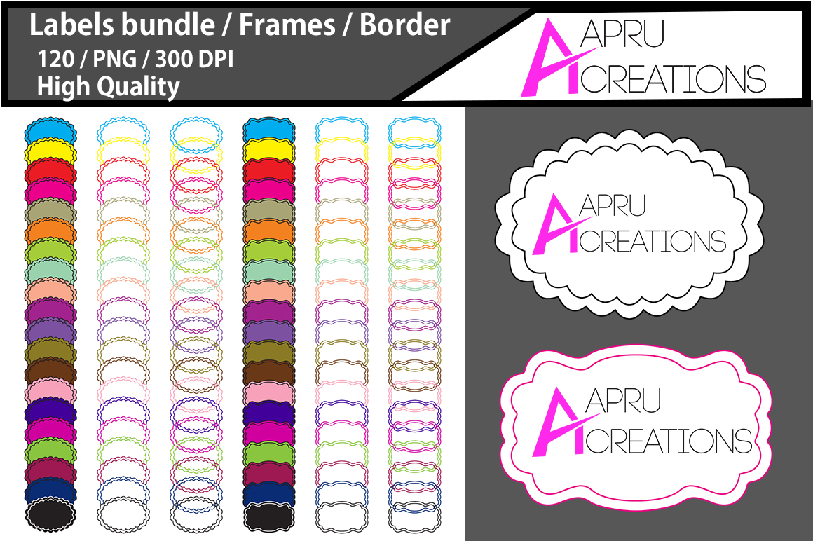 Print on Demand: Label Frames Clipart Graphic Icons By aparnastjp - Image 1