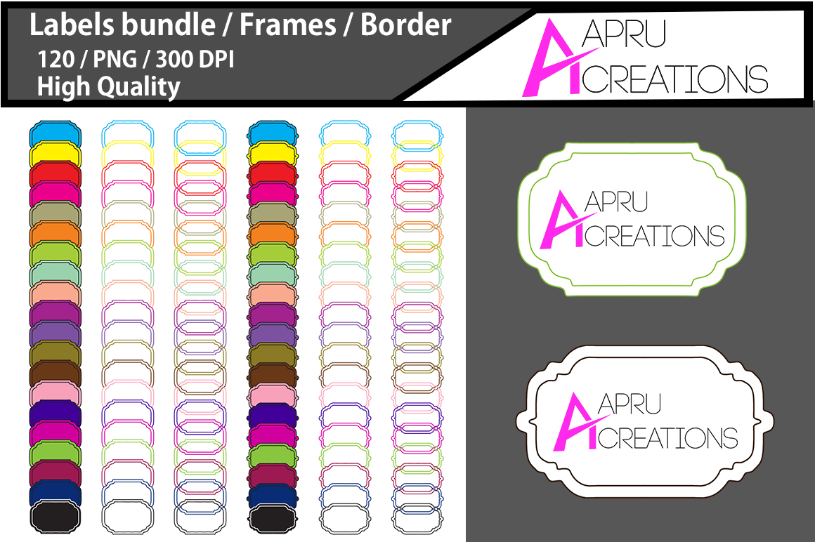 Print on Demand: Label Frames Clipart Grafik Illustrationen von aparnastjp
